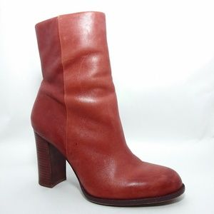 Sam Edelman Red Brownish Leather heel Boots Sz8
